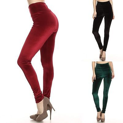 Women Velvet Leggings Solid Black Green Red Christmas Winter Fall Skinny USA