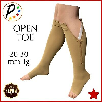 6dd17055a9 Presadee Open Toe Premium 20-30 mmHg Zipper Compression Leg Big Calf Veins  Sock