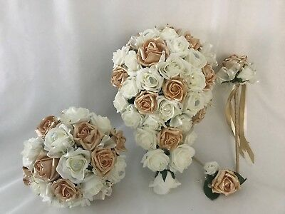 9cede2629 wedding bouquets flowers posy gold brides bridesmaid posy wands buttonholes  rose