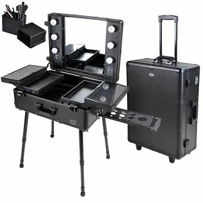 Studio Salon Makeup Train Case Cosmetic Rolling Oragnizer Table LED Light