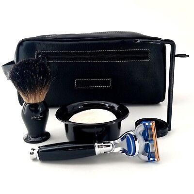 Leather Toiletry Bag with Cartridge Razor, Shaving Soap Bowl, Badger Brush Stand