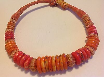 Antique Tibetan Coral Tribal bead Chinese very old original necklace (m1252)