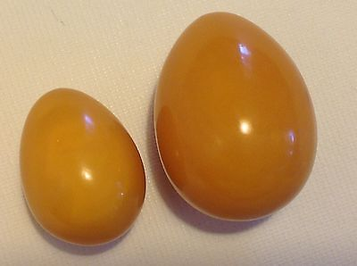 Antique Chinese Baltic butterscotch AMBER 27.7 gram hand carved eggs (m1246)