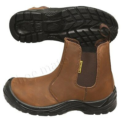 New Mens Lightweight Dealer Chelsea Ankle Steel Toe Cap Safety Work Boots Shoes