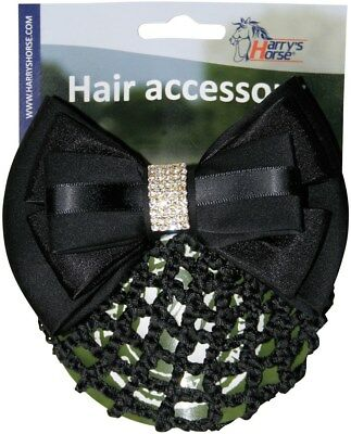 Harry's Horse Hair Clip with snood/net - Black Diamonte Harry's Horse