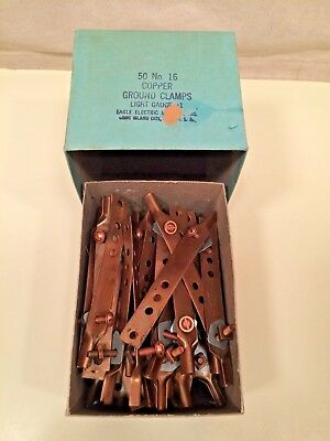 Eagle #16 copper ground clamps/light duty (box of 50) NOS