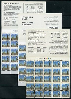 Weeda Canada BK98a-98c VF MNH set of 3 booklets, RP & HP papers CV $95