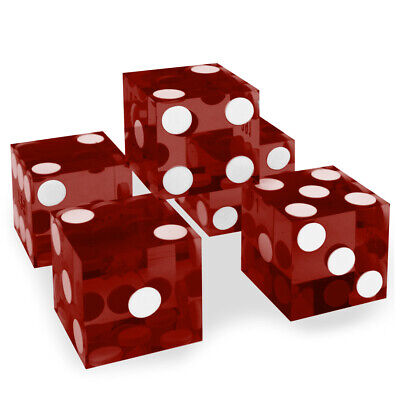 Red 19mm Casino Precision Craps Serialized Razor Edged Dice - Stick of 5 NEW