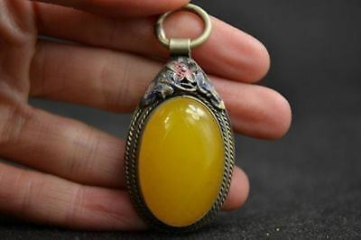 chinese Old Handwork Miao Silver Carving Flower Inlay Yellow Jade Pendant