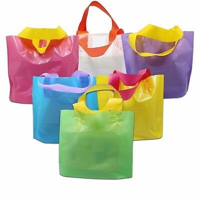 Assorted Color Reusable Plastic Shopping Bag Gift Clothes Boutique Handle Pouch