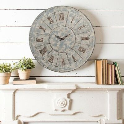 Oversized Large Rustic Distressed Wall Clock Roman Numerals Antique