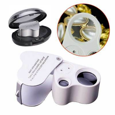 Magnifier 30x 60x Glass Magnifying Jewelry Antique Stamp Jeweler Loupe LED Light