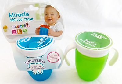 Munchkin Miracle 360 Trainer Cup w/Handles Blue/Green 7 Ounce 2 Count