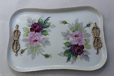 Vintage Hand Painted Porcelain Dresser Vanity Tray Rose Floral with Bows