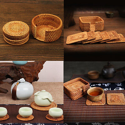 Bamboo Coasters Rattan Round Drinks with Holder Home kitchen Decor 8cm Set of 6