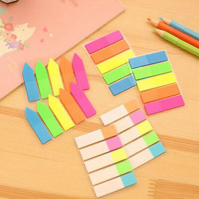 Colorful PET Memo Pad Fluorescent Sticky Notes Page Marker Office School Kids CN
