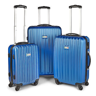 NEW Blue Milano Deluxe 3 Piece ABS Luxury Hardshell Shockproof  Travel Luggage