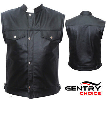Real Leather Motorcycle Biker Rider Waistcoat Sons of Anarchy Men Black Vest