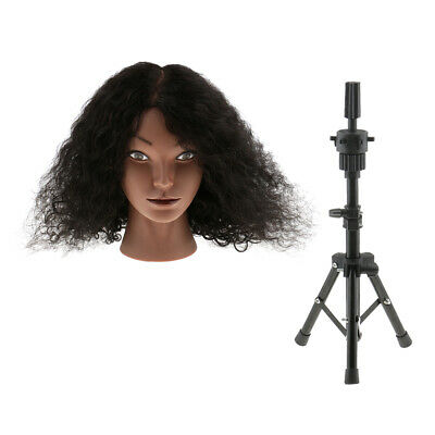 Silicone 100% Human Hair Practice Training Mannequin Head with Tripod Stand