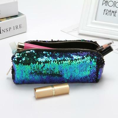 a046a27438 Cosmetic Travel Toilet Bag Reversible Mermaid Sequin Organizer Pencil Pen  Case H