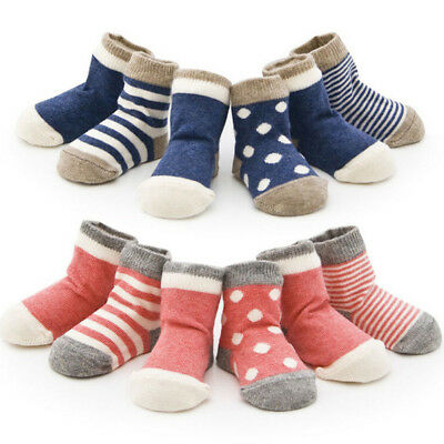 IK- 4Pairs Soft Cotton Newborn Infant Polka Dot Striped Baby Boy Girl Socks Clev