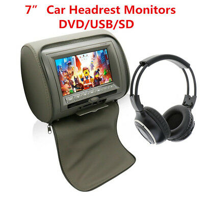 "7"" Car Headrest Monitors w/DVD Player/USB/IR Remote/SD/FM Games With Headset Kit"