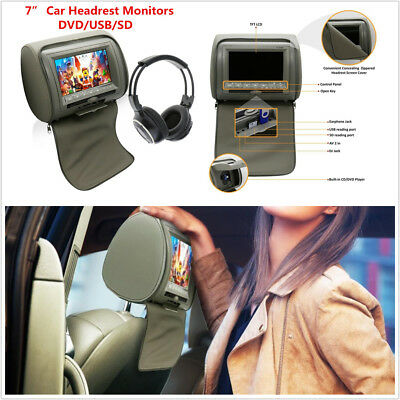 "7"" TFT LCD Car Headrest Monitors w/DVD Player/USB/IR Remote SD Game With Headset"