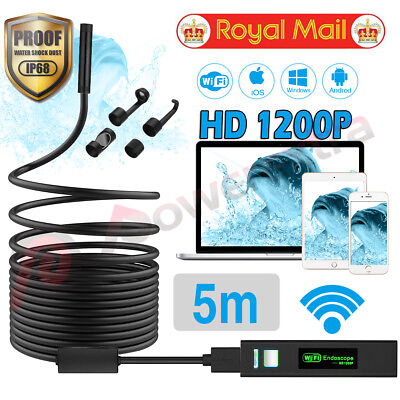 1200P HD Borescope WIFI Endoscope IP68 Car Diagnostic Tool for iPhone Android PC