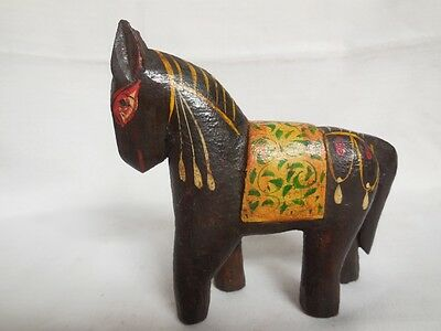 Vintage Hand Carved Painted Wooden Horse Statue Collectible