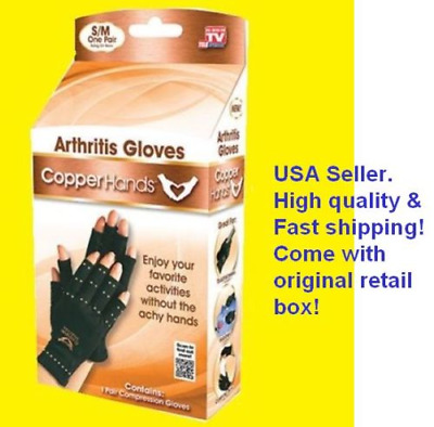 Copper Hands Arthritis Gloves Therapeutic Compression Brace S/M ~  As Seen on TV
