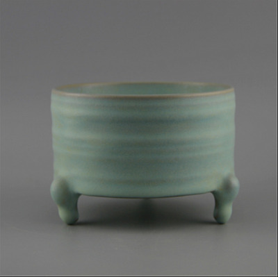 Chinese ancient porcelain  The Song Dynasty Ru  Azure glaze  Three leg incense