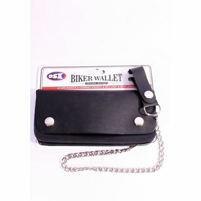 Cowhide Top Quality Leather Biker Bifold Wallet with Chain Large AC-28