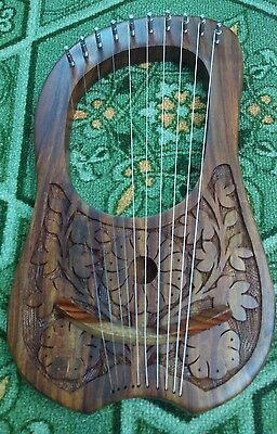 Lyre Harp Engraved Rosewood 10 Metal Strings + Free Carrying Case and Key/Harfe