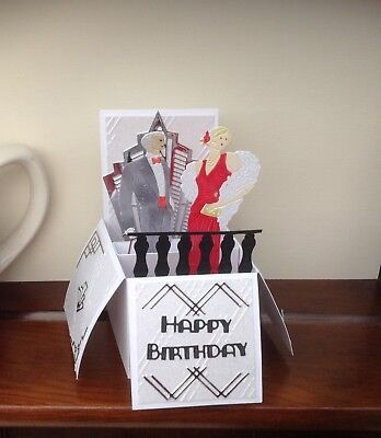 Handmade personalised Art Deco themed  for any occassion pop up card