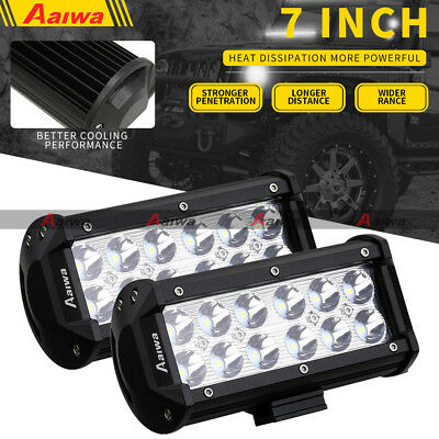 "2X 7"" 36W CREE LED Light Bar Spot Work Driving Lamp 12V 24V SUV 4WD Truck SUV"
