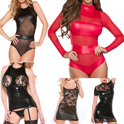 Sexy Women's Mesh Lingerie Wet-Look Party Clubwear Leather Backless Mini Dress