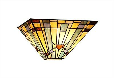 "Matching PAIR 12"" Wall Sconce Fixture Arts & Crafts Tiffany Style Stained Glass"
