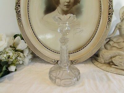 Superb Antique French chunky large glass candle holder, stick. c1880 N° 2