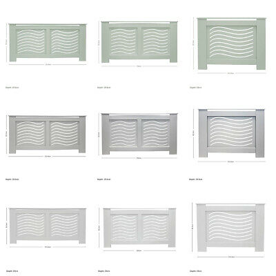 Radiator Cover Modern Wave MDF Wood Grill Cabinet - White/Grey/Green