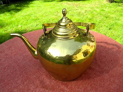 Antique Heavy Brass Large Tea Pot Kettle Gooseneck Spout