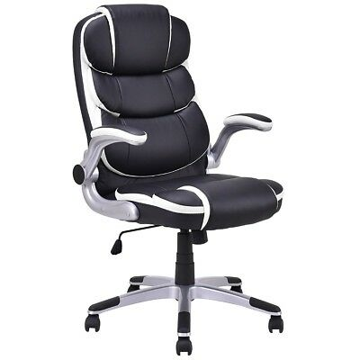 Luxury Black Manager PU Leather High Back Executive Swivel Office Chair Portable
