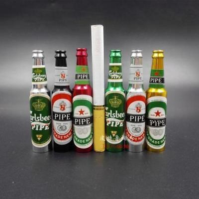 Mini Beer Bottle Pipe Smoking Tobacco Herb Metal Aluminum Portable Pocket Size