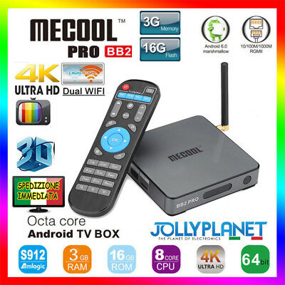 MECOOL BB2 PRO Octa-Core 4K S912 DDR4 3GB 16GB Android 6.0 Smart TV Box WiFi