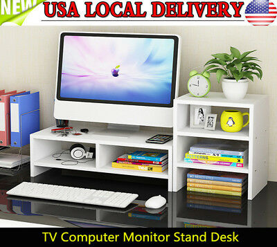 Computer Monitor Stand Desk + 3-Layer Shelf Table Laptop Riser LCD TV Desktop