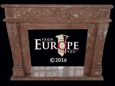 Beautiful Hand Carved Solid Spanish Rose Marble Fireplace Mantel - Tv1