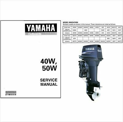Yamaha 40 50 2-Stroke Outboard Motor Service Repair Workshop Manual CD - 40W 50W