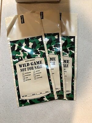(100)1 LB Camo Wild Game GROUND MEAT FREEZER CHUB BAG with Safe Handling