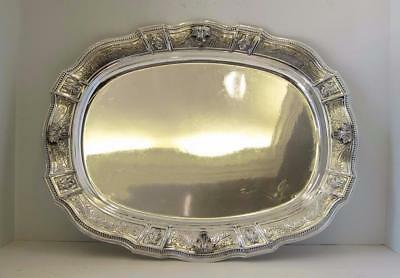 Fine 925 Sterling Silver Handcrafted Chased & Leaf Appliques Oval Rimini Tray