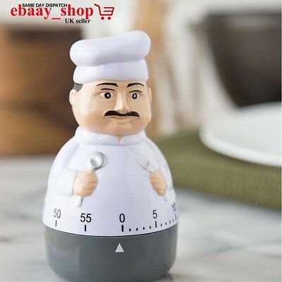 New 60 Min Chef Shaped Kitchen Timer Cooking Timer With Loud Alarm Chef Shaped