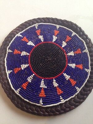 Vintage Hand Beaded African Trivet Ethnic Tribal Beads & Leather